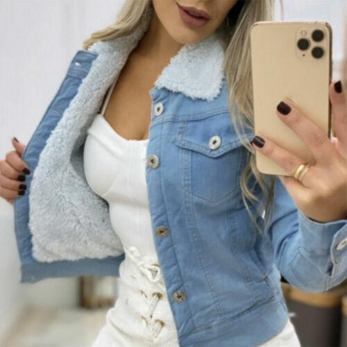 Women Fleece Lined Denim Jacket Coat Ladies Faux Fur Collar Winter Warm Overcoat