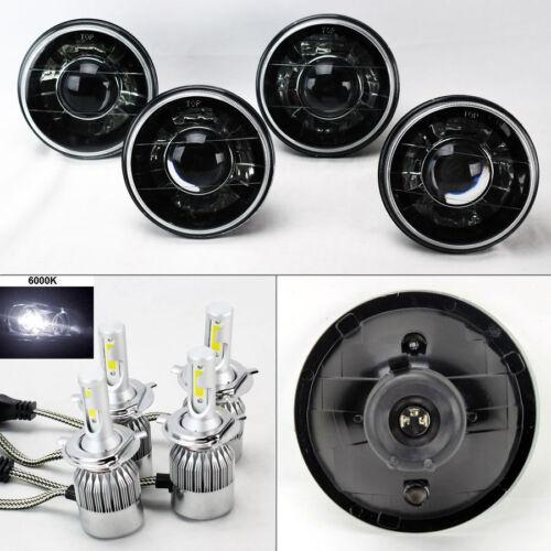 "FOUR 5.75/"" 5 3//4 Round H4 Blk//Chm Projector Headlights w// 36W LED H4 Bulbs Dodge"