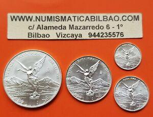 RARE-MEXICO-1-2-1-4-1-10-1-20-ONZA-1998-LIBERTAD-UNC-SILVER-4-COINS-Oz-Mejico