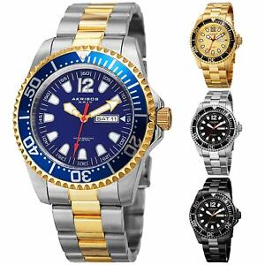 Men-039-s-Akribos-XXIV-AK947-Diver-Style-Day-Date-Stainless-Steel-Bracelet-Watch