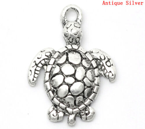 10 Pc Charm Pendants Tortoise Turtle Antique Silver 22x16mm LC3243
