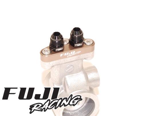 Fuji Racing Billet Impreza Spec C Oil Cooler Adaptor Plate /& AN8 Fittings