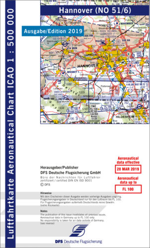 DFS ICAO Flugkarte Deutschland Blatt Hannover Ausgabe 2019