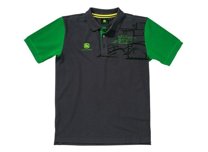 John Deere Polo combinar Negro  Y verde  presentando toda la última moda de la calle