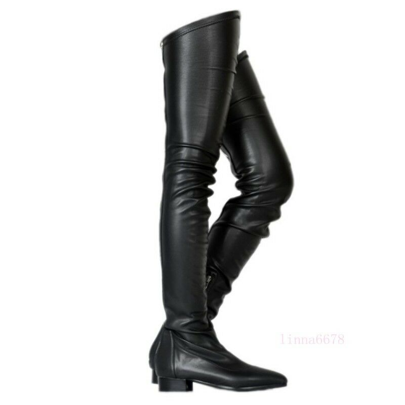 New Women's Back Zip Casual Low Heel Over Knee High Boots Pointed Toe Pleated