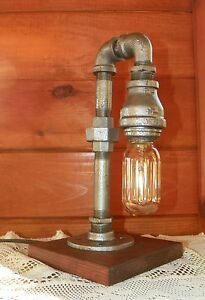 Industrial-Pipe-Lamp-steampunk-style-in-silver-with-edison-bulb
