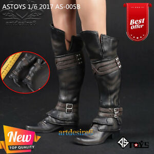 1//6 Scale Toy Female Black High Top Leather Like Boots Foot Type