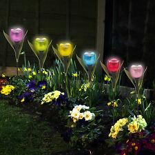 Outdoor Yard Garden Path 6S Way Solar CA Power LED Tulip ...