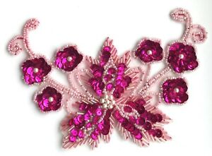 Large-Floral-Flower-Beaded-Sequined-Sew-On-Applique-Craft-Patch-Vintage