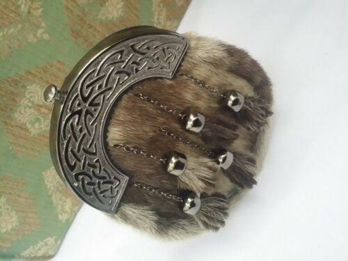 Scottish Full Dress Kilt Sporran Leather Celtic Cantle Antique Finish Chain Belt