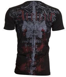 ARCHAIC-by-AFFLICTION-Mens-T-Shirt-SERVICE-Skulls-Sword-BLACK-Biker-40