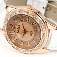 Fashion Bling Lady Women Crystal Bracelet Quartz Sport Leather Wrist Watch