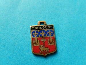 Vintage Enamel french Travel Shield Charms TOULOUSE CASTLE LAMB OF GOD  VITAM