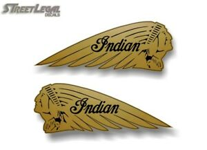 "2 HUGE 42"" GOLD Indian Motorcycle War Bonnet Vinyl Sticker Decals for Trailer"
