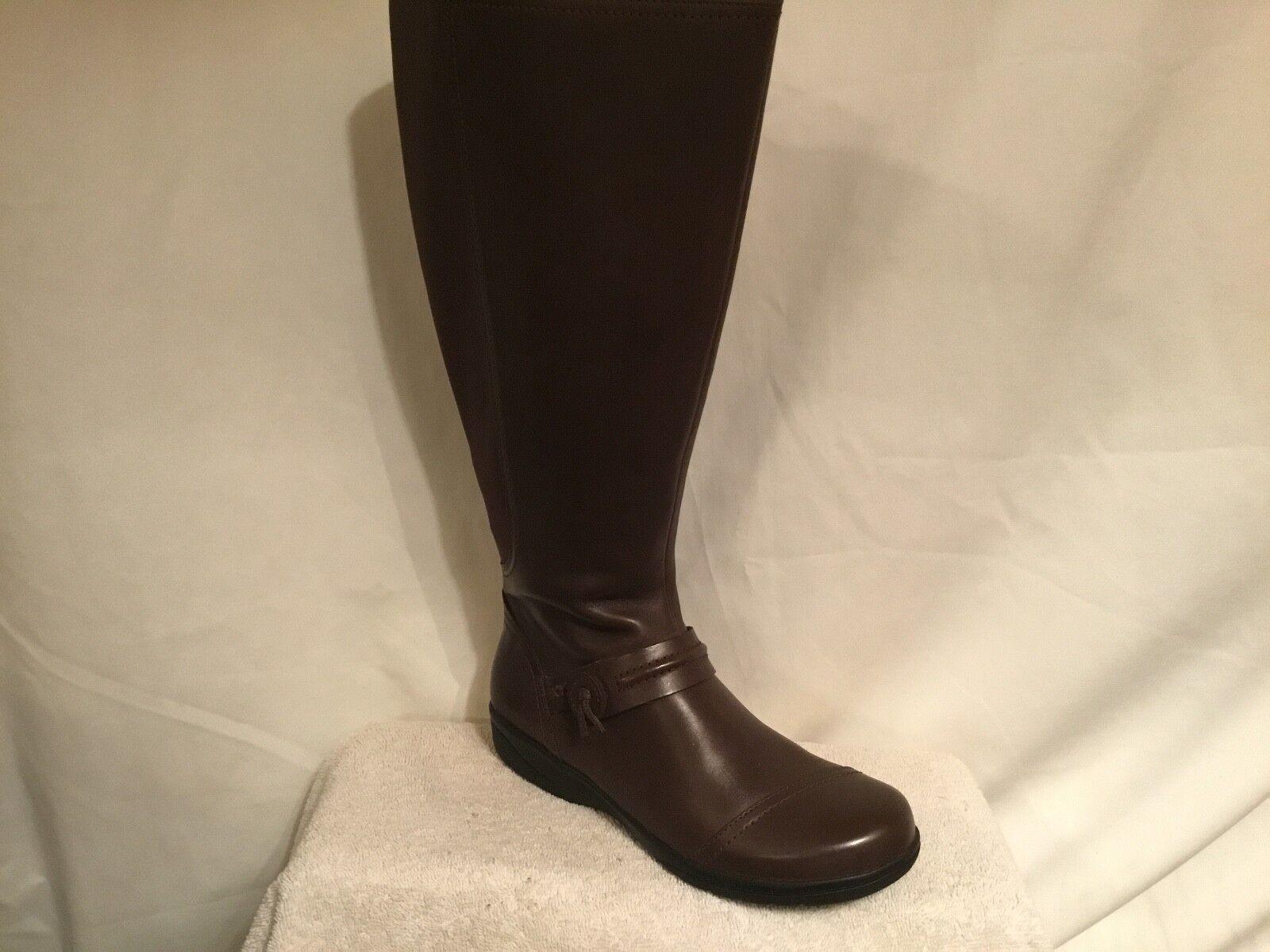 Clarks Leder Wide Calf Tall Shaft Stiefel - Cheyn Whisk Braun 11 med