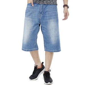 Mens-Shorts-Jeans-Denim-Shorts-Loose-Fit-Simple-Plain-Light-Wash-Blue-Plus-Size