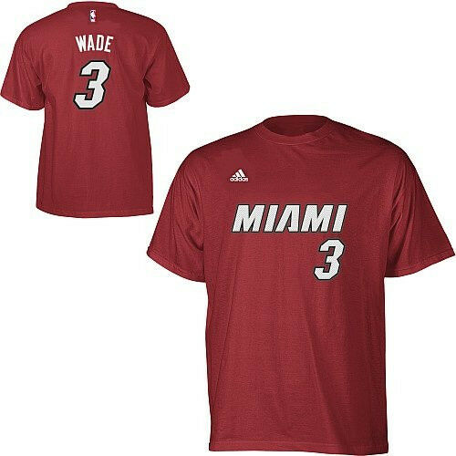NBA T-shirt Miami Heat Dwayne Wade 3 Road Rouge Basket nom Number maillot