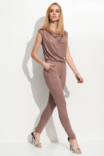 Women/'s Cowl Neck Cap Sleeve Long Jumpsuit With Elasticated Waist  FM112