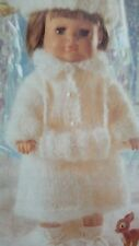 KNITTING PATTERN Dolls clothes Coat hat muff mohair 16-24 inch chest (89)
