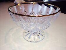 Vintage Crystal Fruit Bowl with Pedestal and Gold Trim