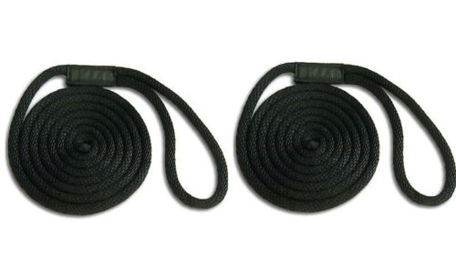 """Fade Proof USA BLACK Solid Braid Nylon Dock Line  1//2/"""" x 30/' 2-PACK! Floats"""