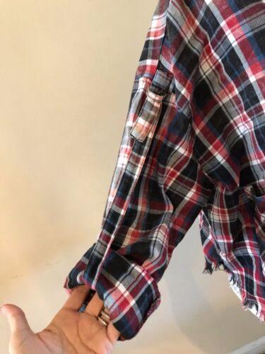 Grezzo ~ Nuova Quadri A Scozzese Camicia Plaid Bordo Con Bottoni Etichetta Zara xqwAIHq