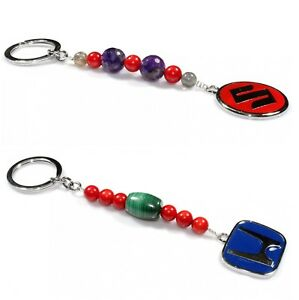 Natural Gemstone Stone Key Chain Keychain Keyring Holder Lanyard Birthday Gift