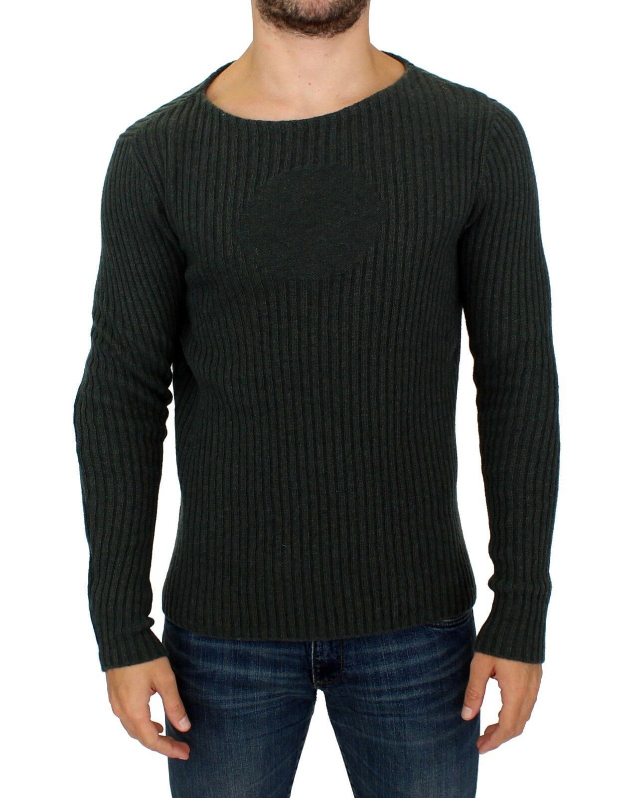 NEW 380 Gianfranco GF FERRE Grün Knitted Wool Blend Pullover Sweater Top s. XL
