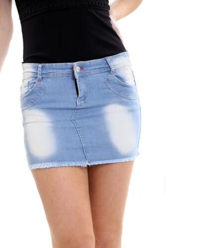 Women Stretchy Denim Summer Fashion Short Mini Skirt Blue Jeans Size 8-14 New