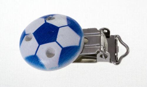 Clip Pince Attache Tetine en Bois Ballon de Foot Rond 3cm Couleur au Choix 3 cm