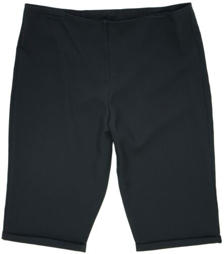 Womens New Size 12-22 Plain Black Knee Length Shorts Fitted Waist Ladies
