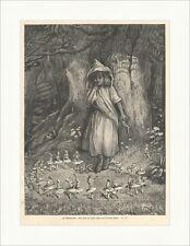 Im Märchenland Auf jedem der großen Pilze saß ein kleines Wesen Holzstich E 4883