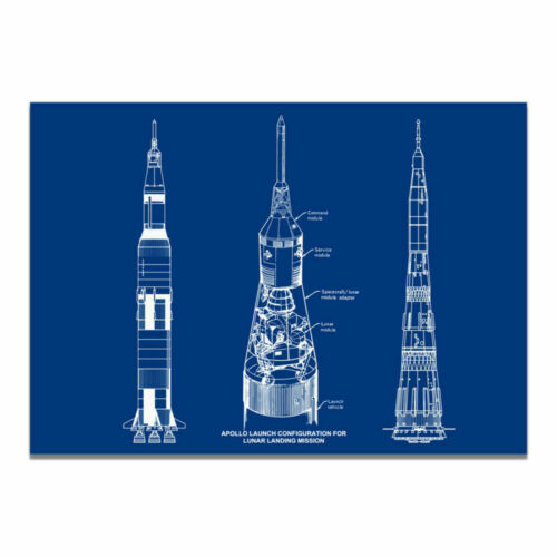 Rocket Patent Art Painting Canvas Print Blueprint Poster Picture Wall Home Decor