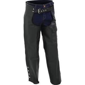 Nouveau-Unisexe-Hommes-Femmes-Solide-Buffalo-Cuir-Noir-Moto-Chaps-M-L-XL-2X-3X