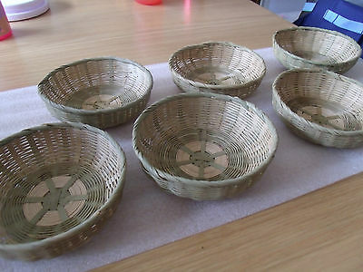 6 Round Natural Bamboo Baskets Storage Hamper Display Tray Bambu Basket Bambo