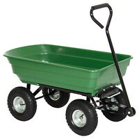 Bcp Garden Dump Cart Dumper Wagon Carrier Wheel Barrow 650lb Capacity on sale