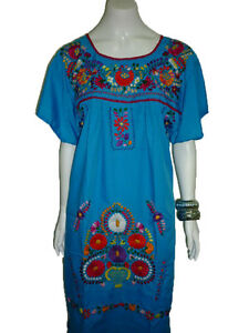 47e0a8e97bed1 Image is loading Aqua-Vintage-Style-Hand-Embroidered-Tunic-Mexican-Dress-
