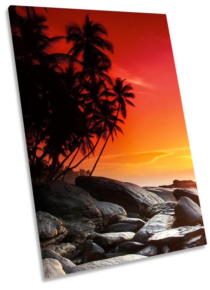 Sunset Tropical Beach Framed CANVAS Wand Kunst Bild Drucken