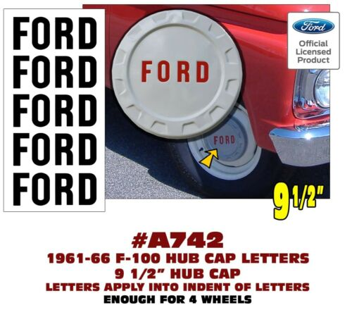 """FORD LETTER INSERT DECALS A742 1961-66 FORD F-100 PAINTED 9 1//2/"""" HUB CAP"""