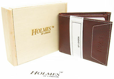 WALLET BROWN QUALITY FULL GRAIN LEATHER CREDIT CARD HOLDER GIFT BOX UK NEW WD1