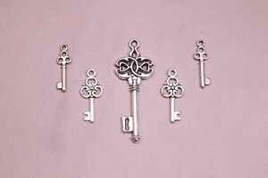 Small-Skeleton-Key-Lot-of-5-Heart-Oval-Steampunk-Antique-Vintage-Look