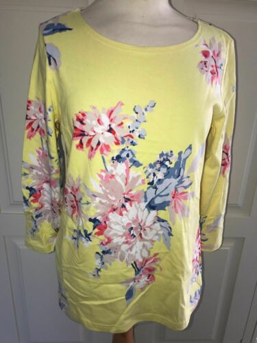 JOULES Lemon Whitstable Floral HARBOUR PRINT 3//4 Sleeve Top sz 14 16  18