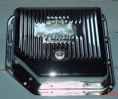 "TRANSMISSION PAN TURBO 350 GM CHROME 3"" EXTRA DEEP W / DRAIN PLUG CHEVROLET BOP"