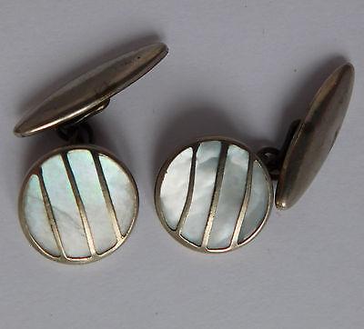 Vintage Art Deco gilt cufflinks Mother of Pearl men or ladies 1920s 1930s MoP z