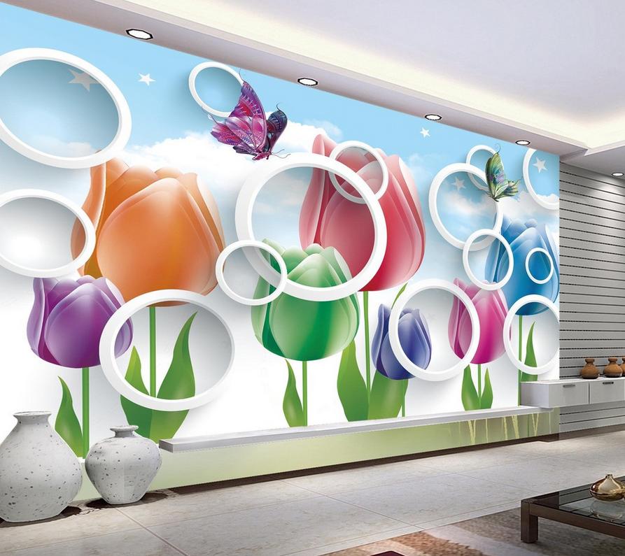 3D Blumen Himmel Schönheit6 Tapete Tapeten Mauer Foto Familie Tapete Wandgemälde