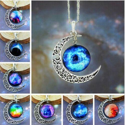 Stylish Women Galaxy Universe Crescent Moon Glass Cabochon Pendant Necklace