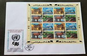 [SJ] United Nations Endangered Species 1997 Horse Monkey Bird Fauna Wildlife FDC