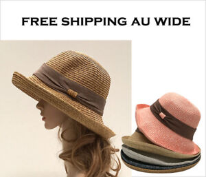 Ladies-Women-Sun-Beach-Floppy-Derby-Wide-Brim-Fedora-Straw-Paper-FREE-SHIPPING