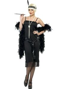 8-22-Black-Flapper-Costume-amp-Headband-20s-Charleston-Ladies-Fancy-Dress-Outfit