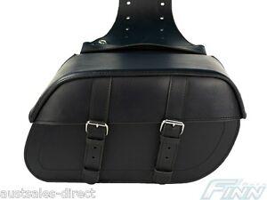 Black Tek Leather Motorcycle Saddle bags Waterproof Rigid Universal Fit Luggage